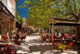 Cafés und Restaurants unter Platanen
