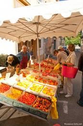 Stand mit zahlreichen verschiedenen Tomatensorten auf dem provenzalischen Markt in Apt