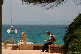 Blick auf das Mittelmeer am Strandhaus der Domaine du Rayol