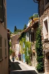 Gasse mit zahlreichen bewachsenen Häusern