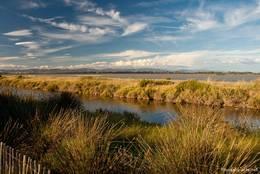 Blick von der Route du Sel auf die Lagune zwischen den beiden Landengen der Halbinsel Giens