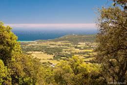Ausblick in der Nähe der Moulins de Paillas über die Halbinsel von Saint-Tropez Richtung Cap Camarat